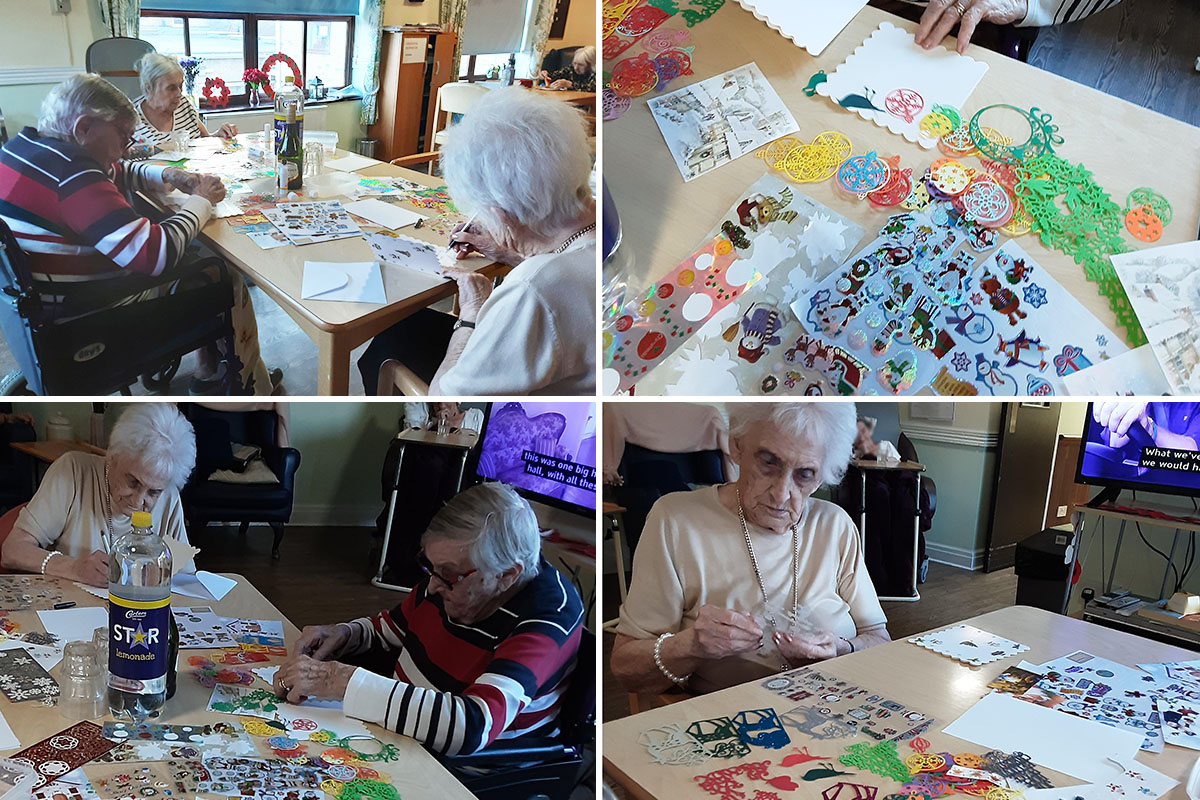 Christmas crafts and group games at St Winifreds Care Home