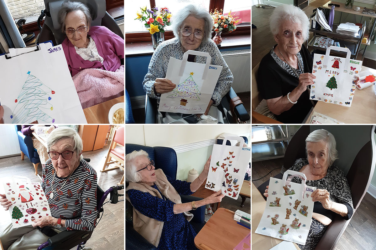 Making pen pal gift bags at St Winifreds Care Home