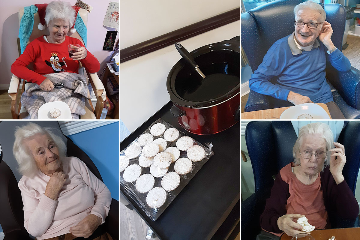 Mince pies and mulled wine at St Winifreds Care Home