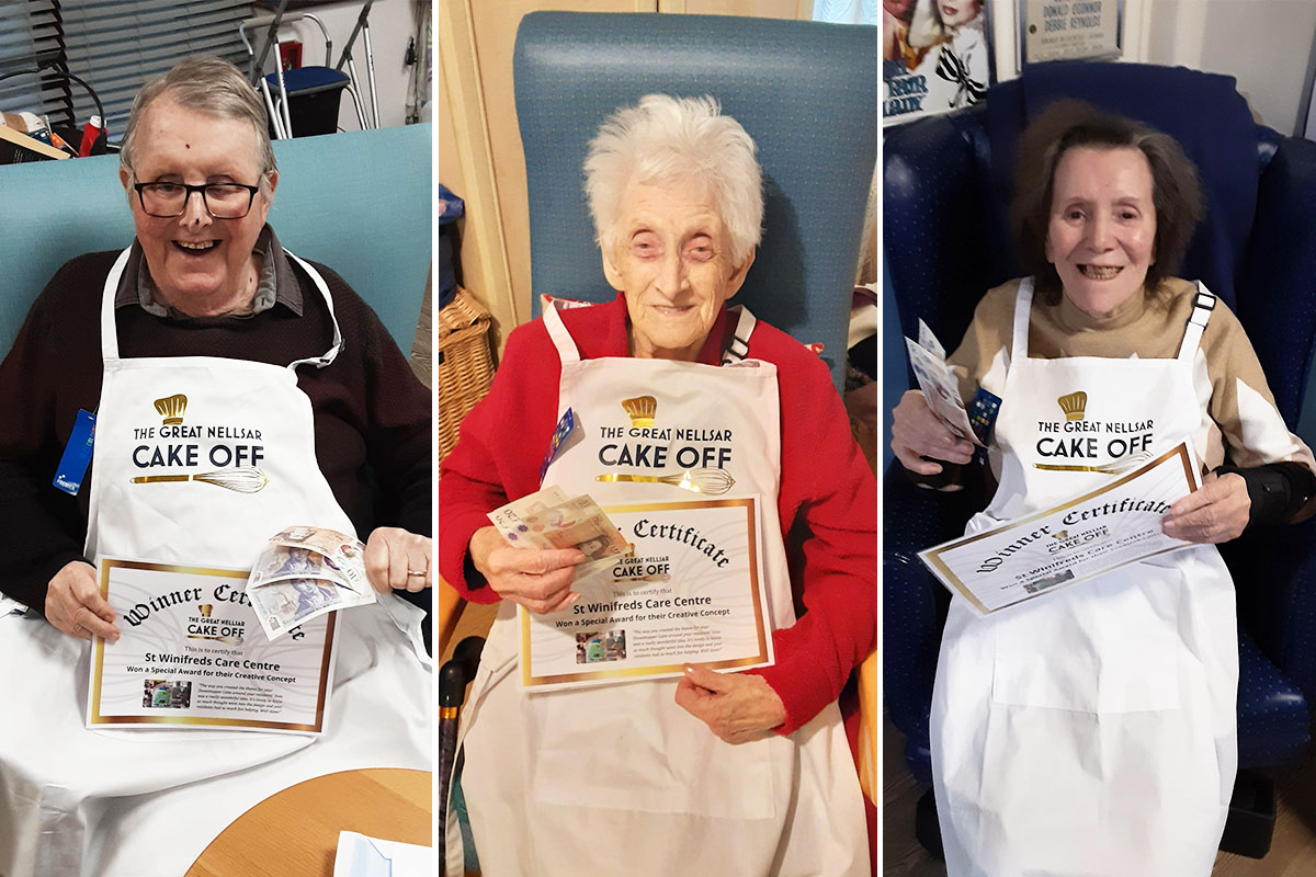 St Winifreds Care Home residents receive their Nellsar Cake Off Award