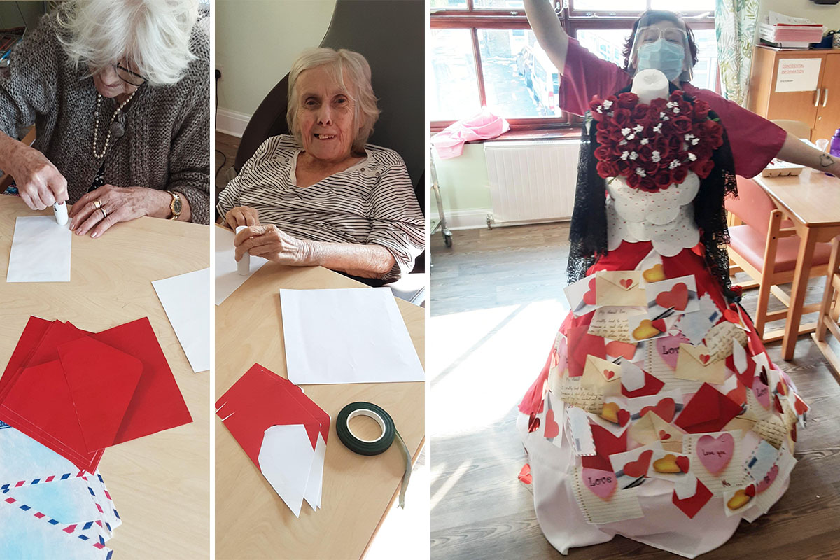 St Winifreds Care Home residents and staff create a fantastic Valentines display