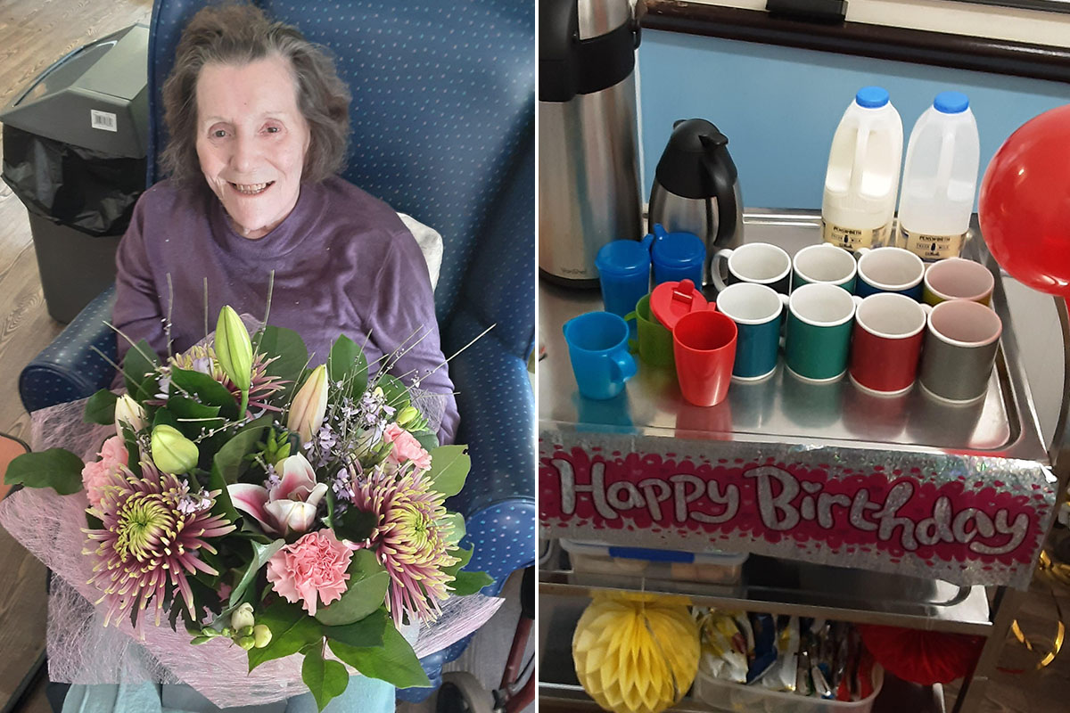 Happy birthday to Doreen at St Winifreds Care Home