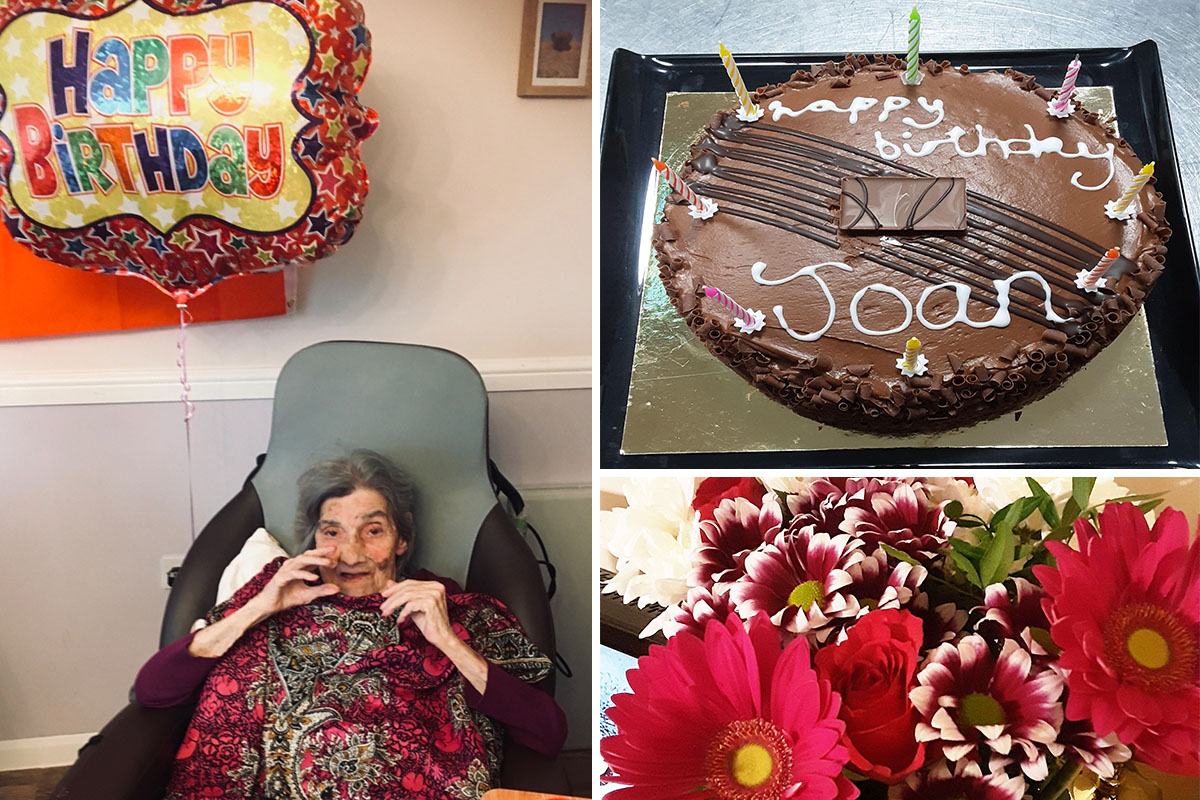 Birthday celebrations for Joan at St Winifreds Care Home