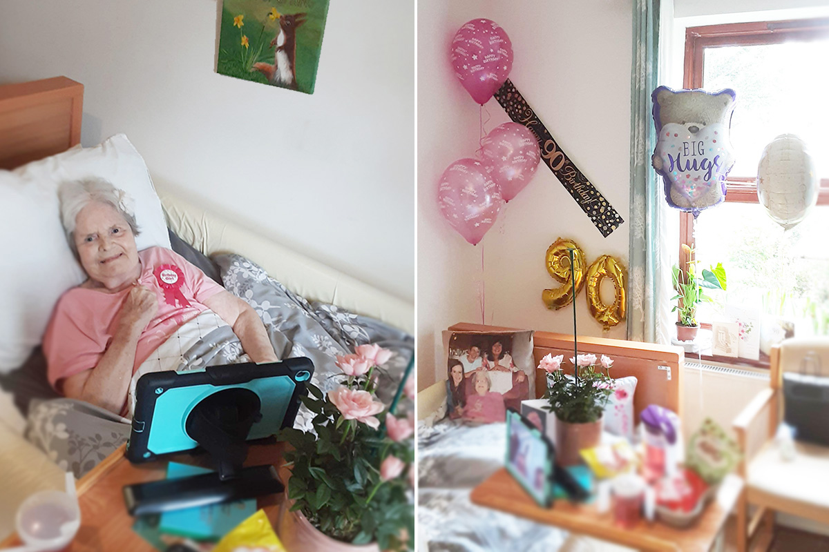 Birthday wishes for Marjorie at St Winifreds Care Home