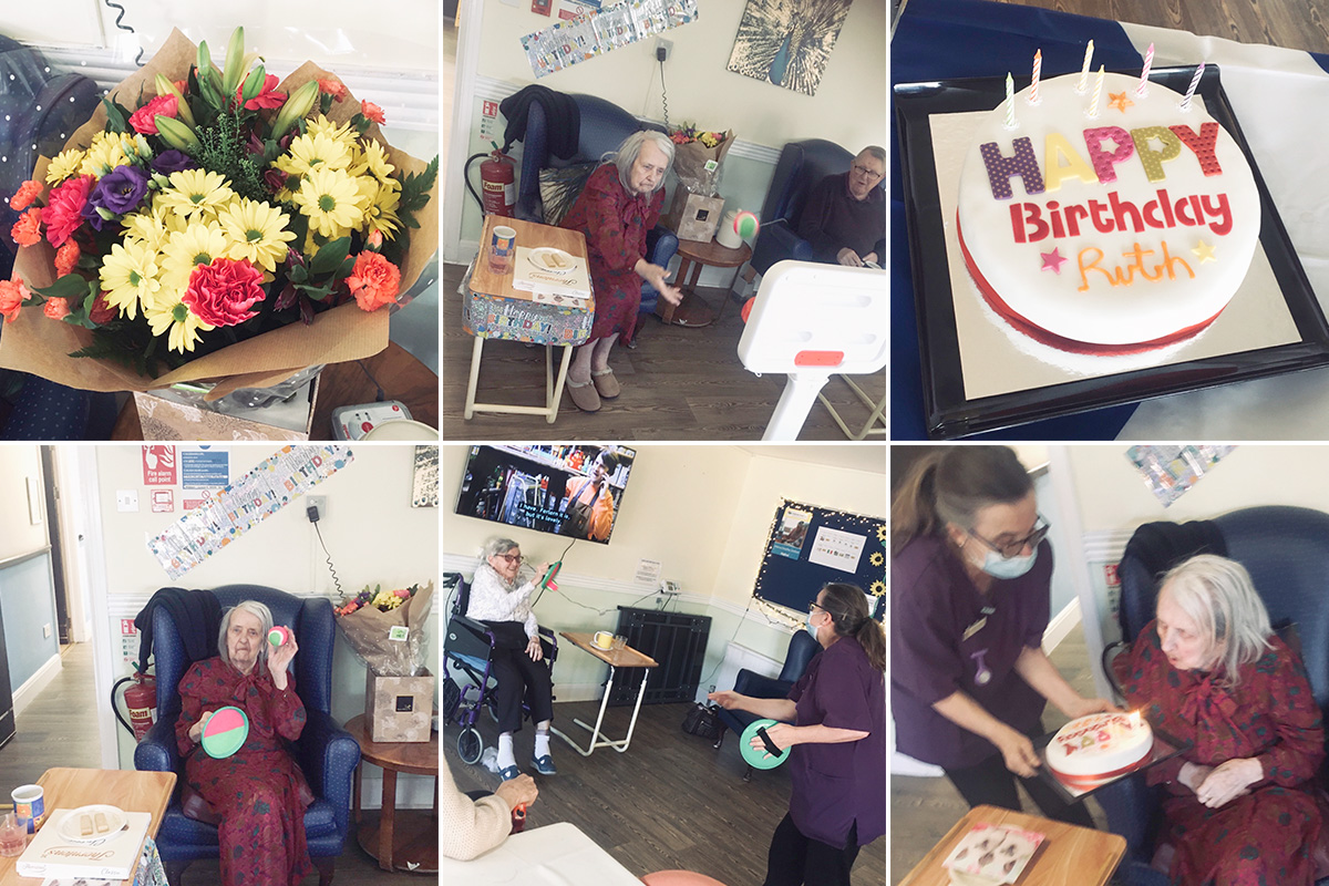Birthday celebrations and games at St Winifeds Care Home